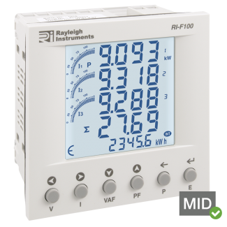 Rayleigh Instruments RI-F100 Series Three Phase Multifunction Energy Meter - MID Certified