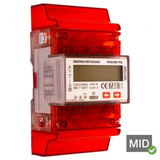 Inepro PRO380-MB 100A MID Certified Dual Tariff Single and Three Phase Network Multifunction Meter With Pulse Output and MBus