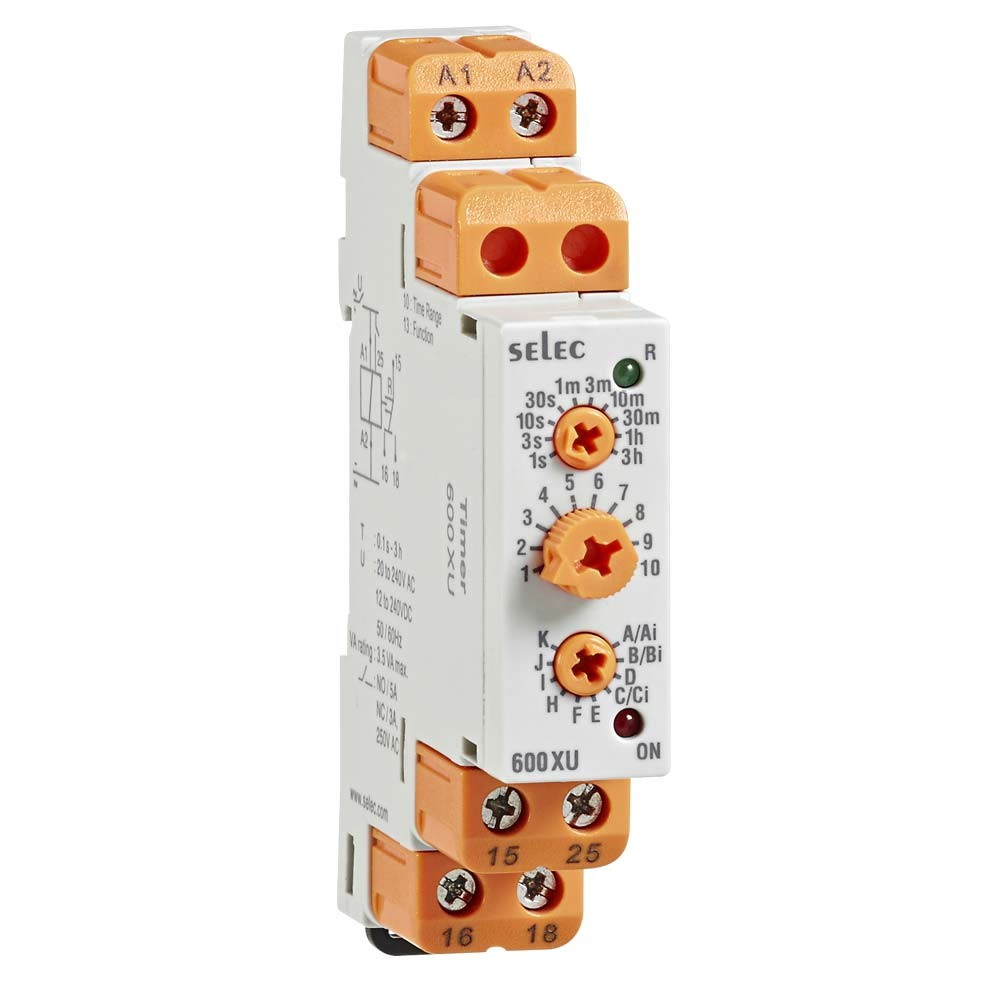600XU Din Rail 17.5 mm Analogue Multi Function Timer