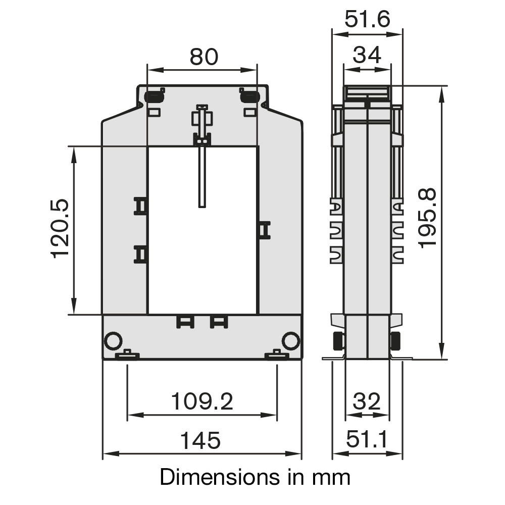 DBP812 Current Transformer Dimensions
