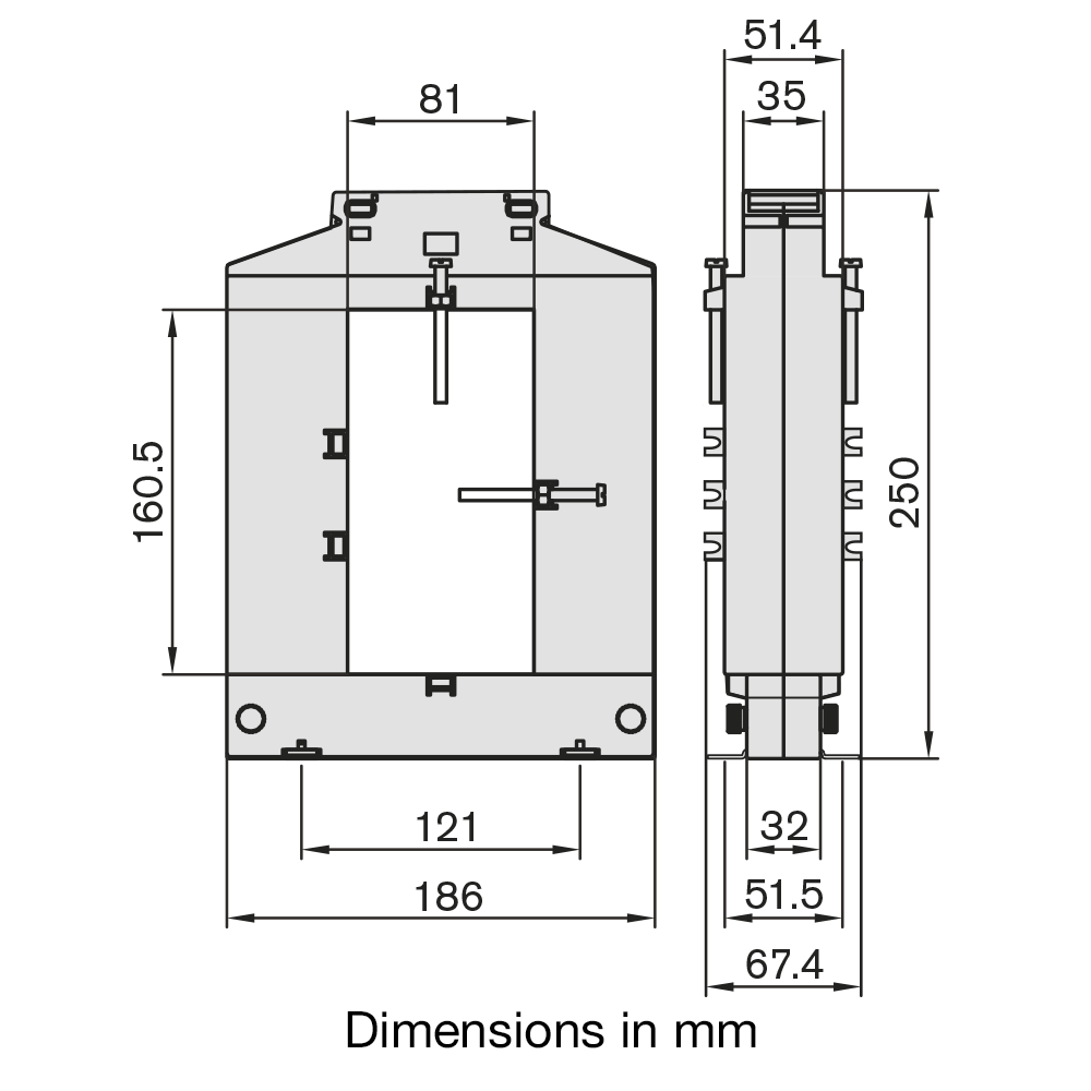 DBP816 Current Transformer Dimensions