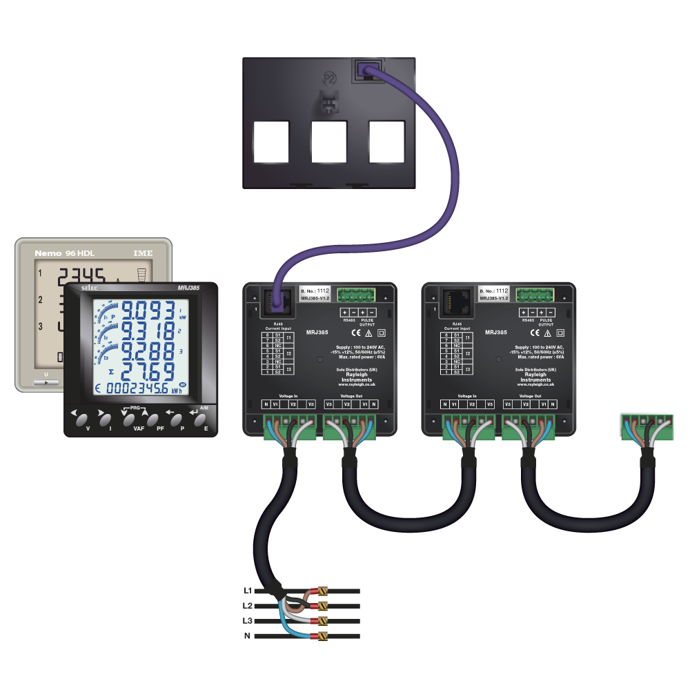 Easywire CT to Multifunction meter schematic