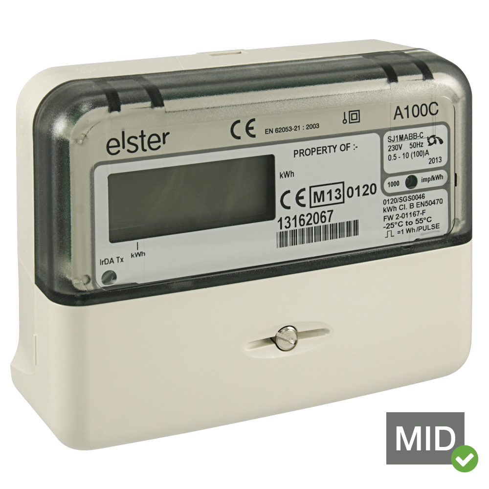 Elster A100C MID Certified Single Phase Class 1 Solar Generation Meter