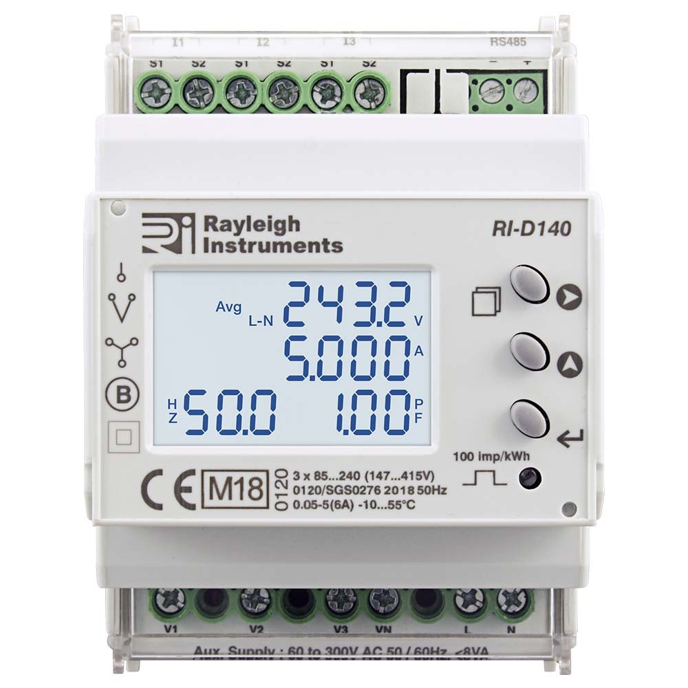 RI-D140 MID Certified Multifunction DIN Rail Meter to Front