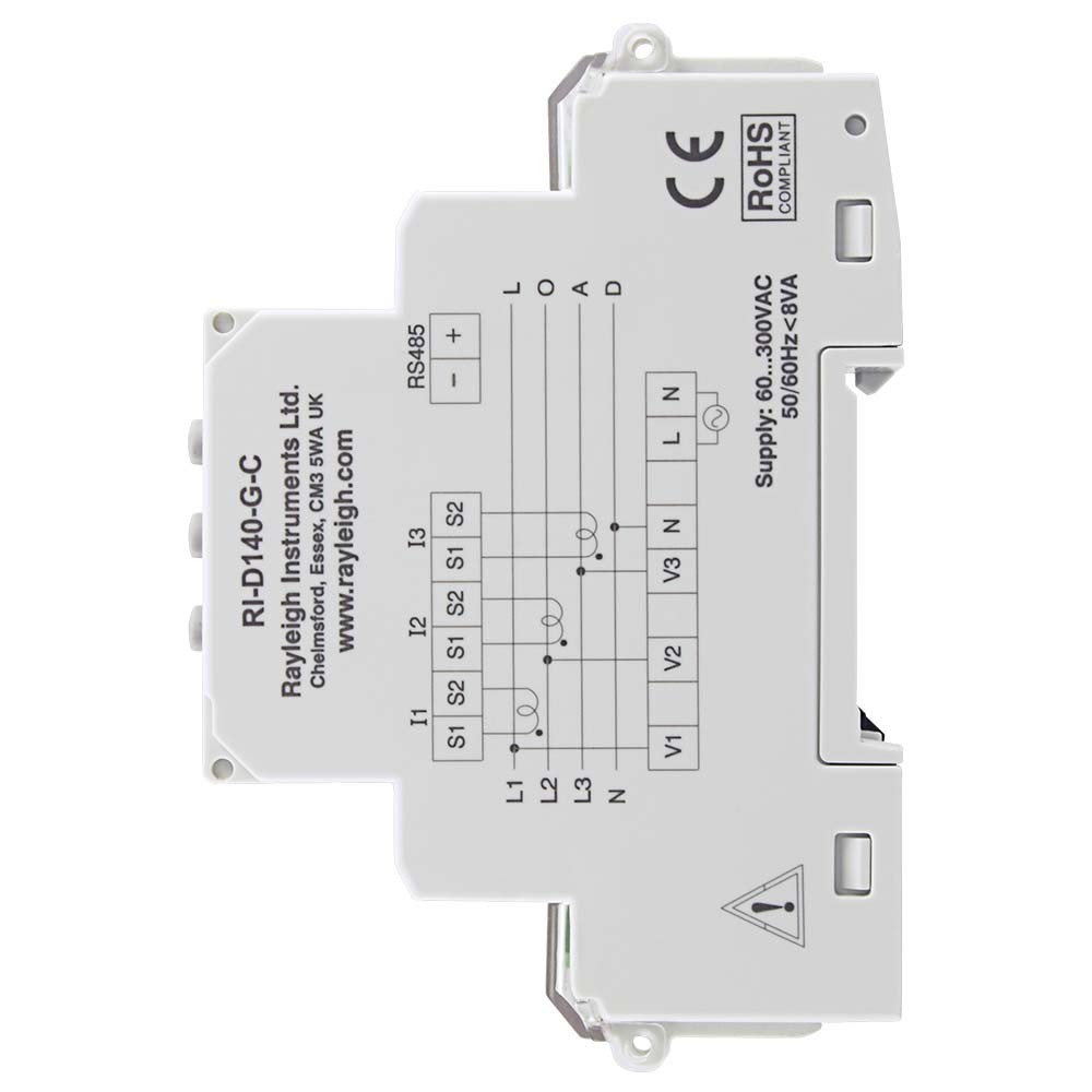 RI-D140 MID Certified Multifunction DIN Rail Meter to Left