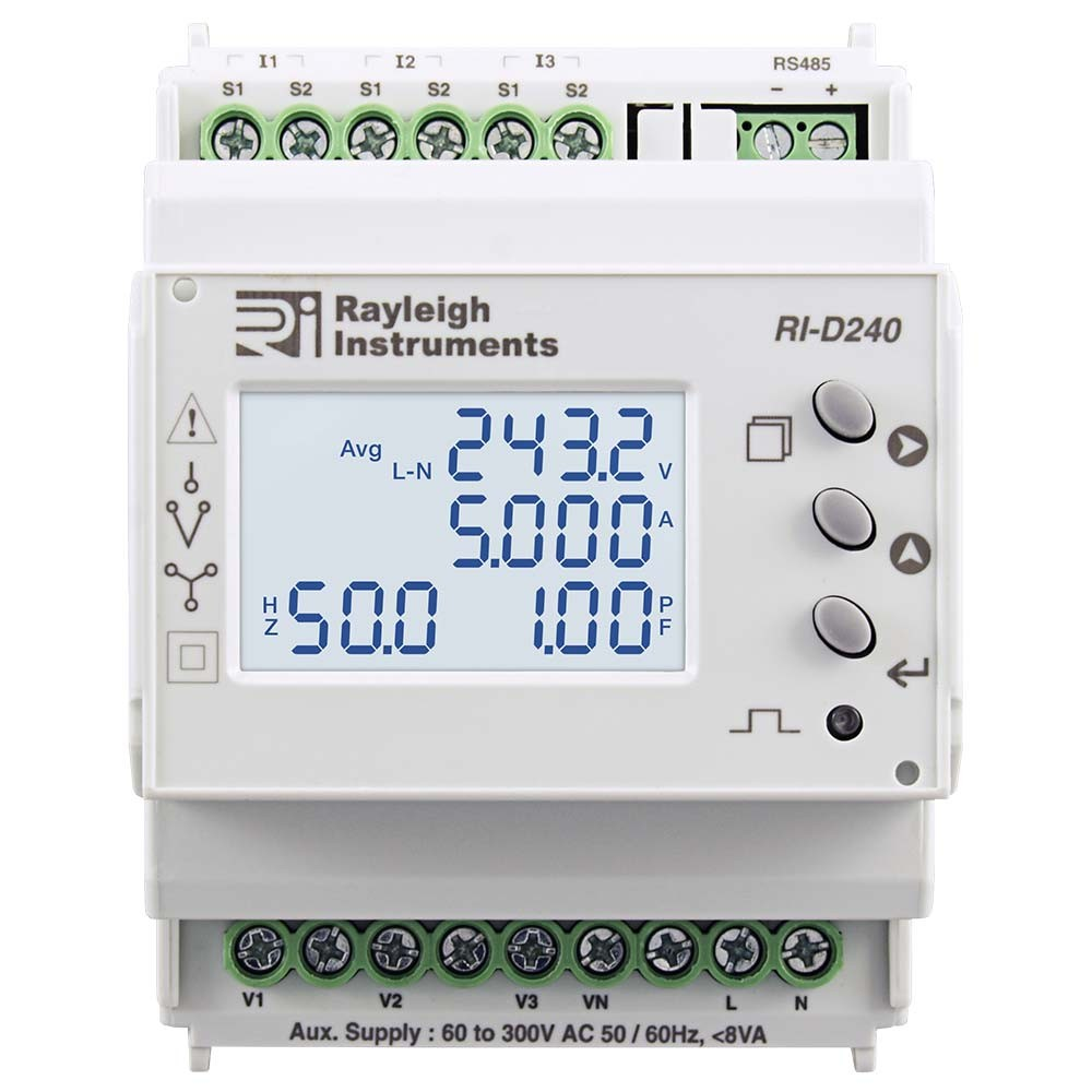 RI-D240 Multifunction DIN Rail Meter to Front