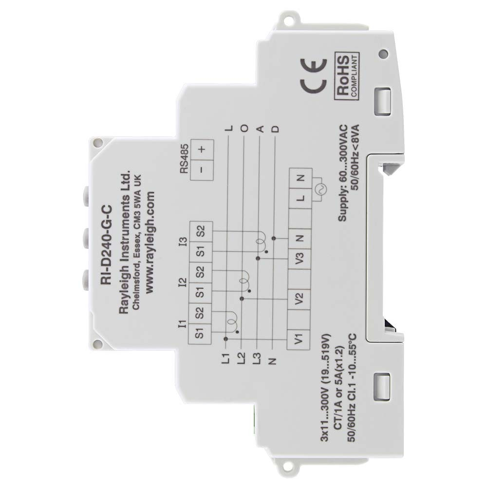 RI-D240 Multifunction DIN Rail Meter to Left