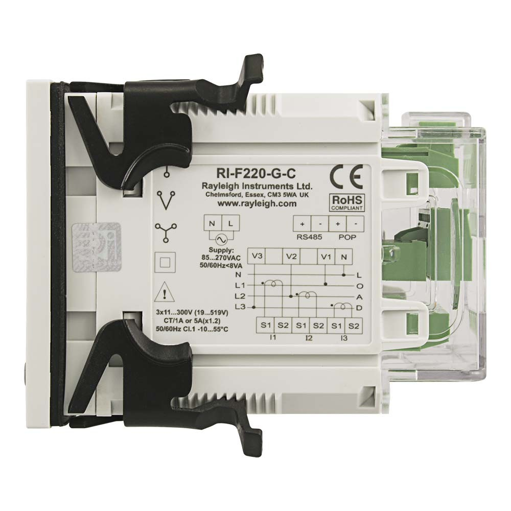 RI-F220 Multifunction Meter with Clips to Left