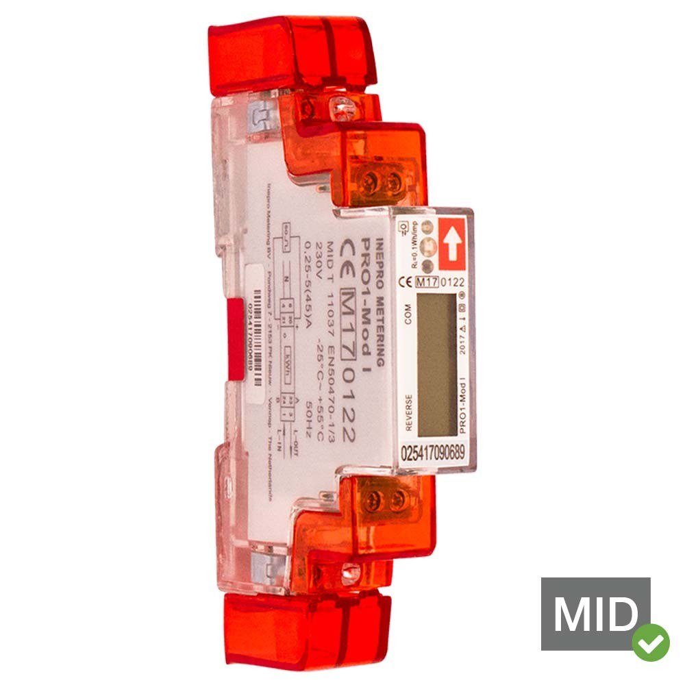Inepro PRO1-MOD 45A MID Certified Two Tariffs Single Phase Network Multifunction Meter
