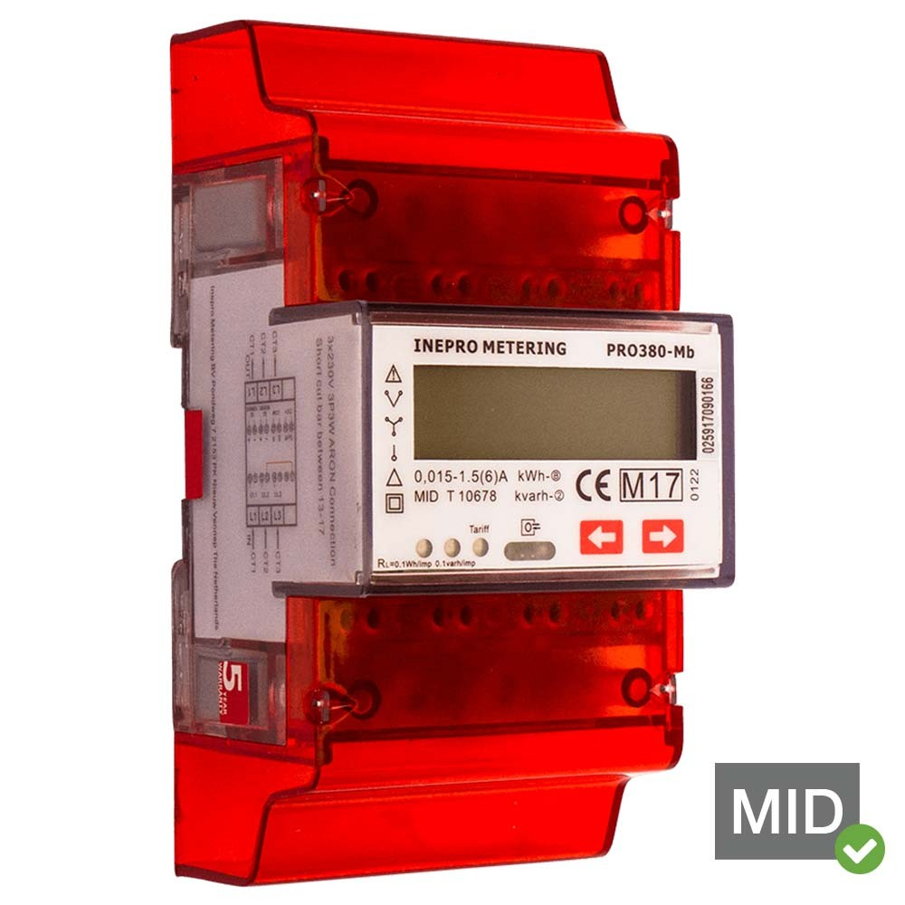 Inepro PRO380-MB-CT MID Certified Dual Tariff Single and Three Phase Network Multifunction Meter With Pulse Output and MBus