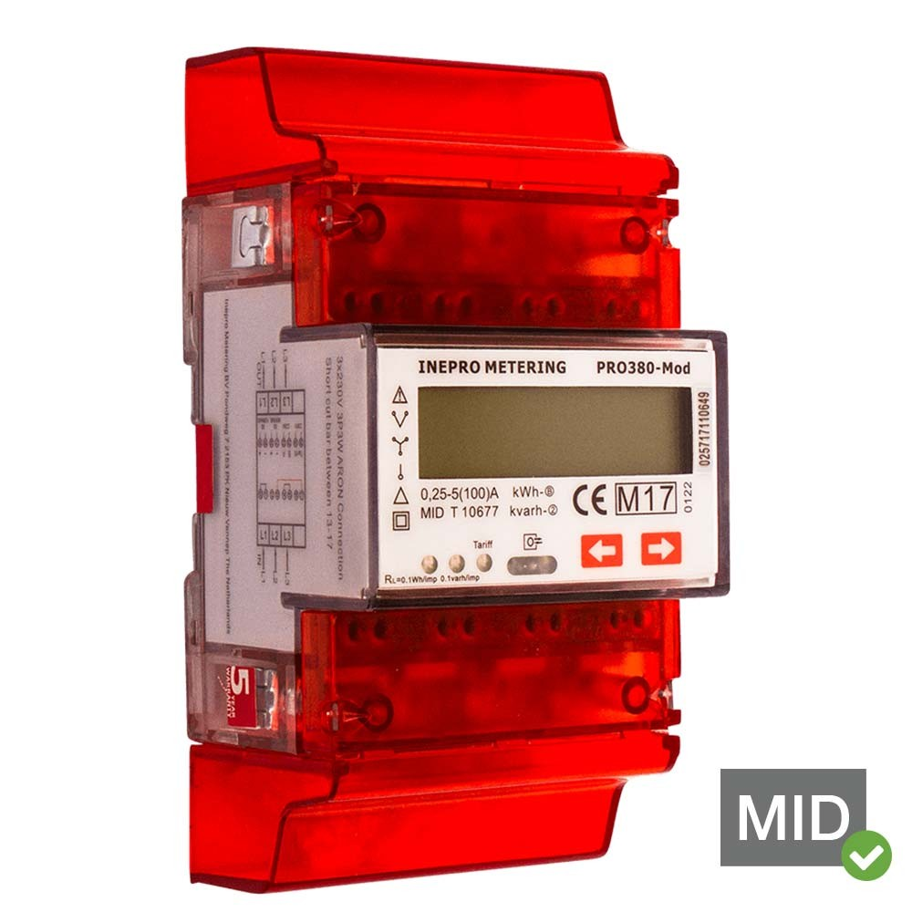 Inepro PRO380-MOD 100A MID Certified Dual Tariff Single and Three Phase Network Multifunction Meter With Pulse Output and ModBus/RS485 RTU