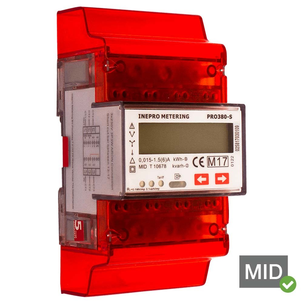 Inepro PRO380-Standard-CT MID Certified Single Tariff Single and Three Phase Network Multifunction Meter With Pulse Output