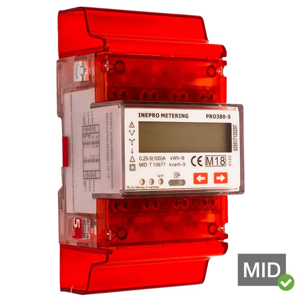 Inepro PRO380-Standard 100A MID Certified Single Tariff Single and Three Phase Network Multifunction Meter With Pulse Output