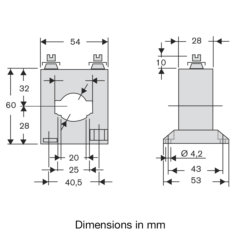 Current transformer type TA90311 Dimensions