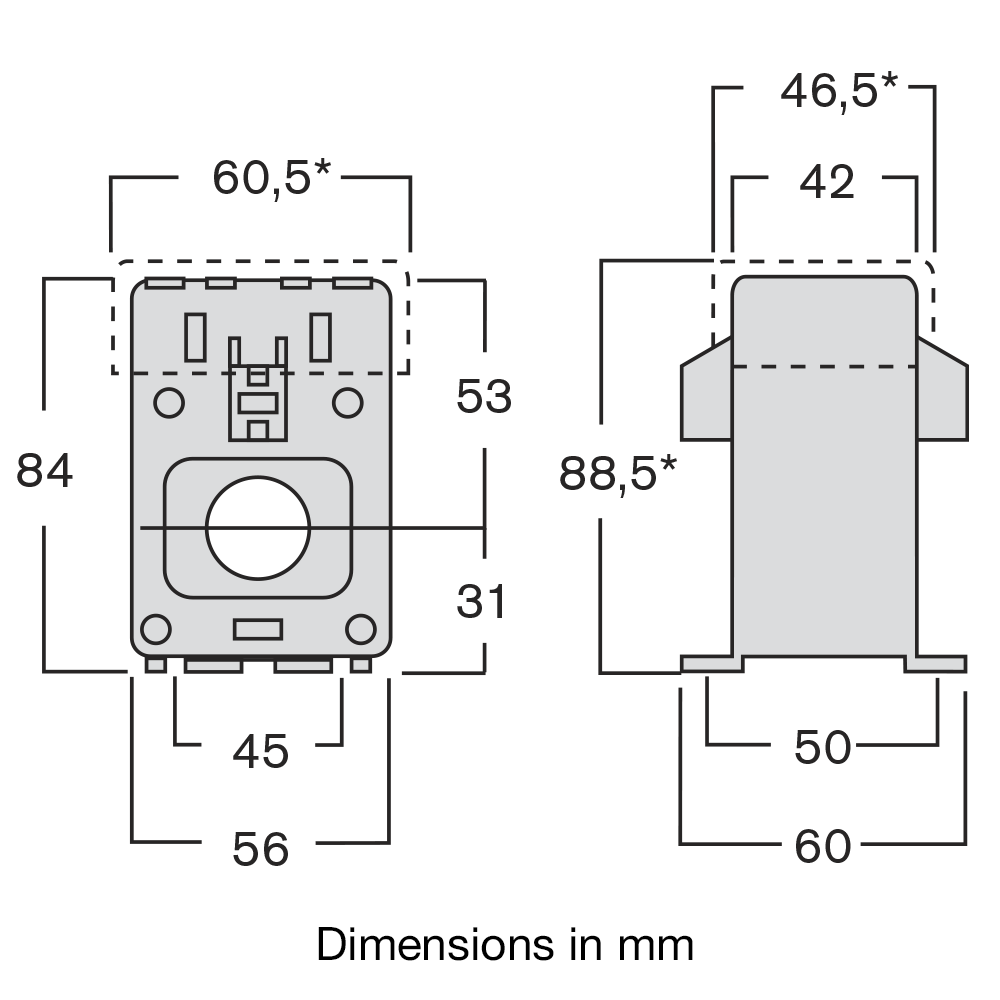 TAIA current transformer dimensions