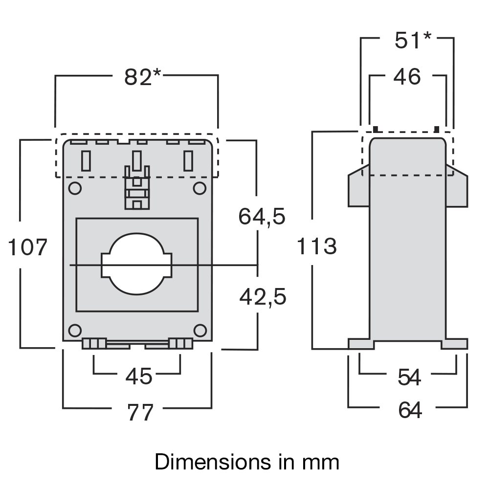 Current transformer TAIF dimensions
