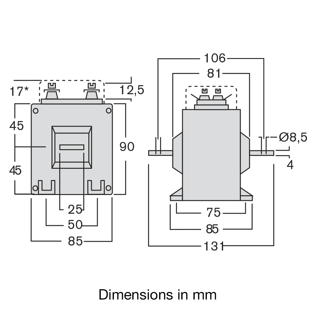 TAQC current transformer dimensions