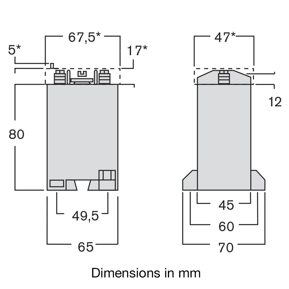 TAQE transformer dimensions diagram