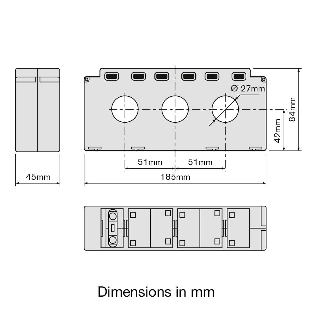 TAS227 3 phase current transformer Dimensions