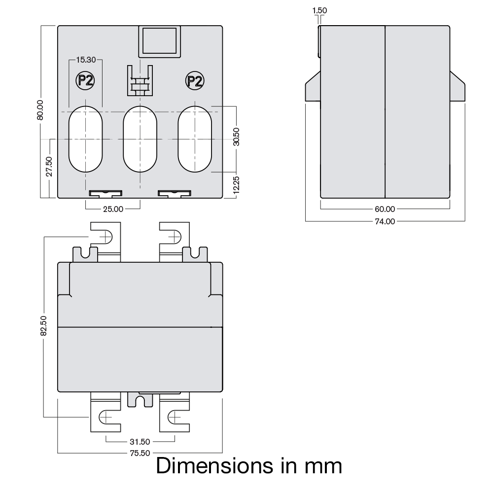 TAS240-EW 3-phase CT dimensions