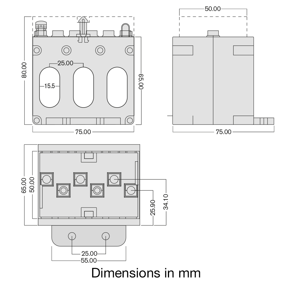 TAS240 3-phase CT dimensions