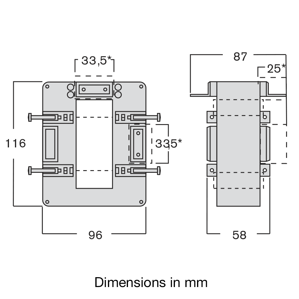 Current transformer TASO dimensions diag.