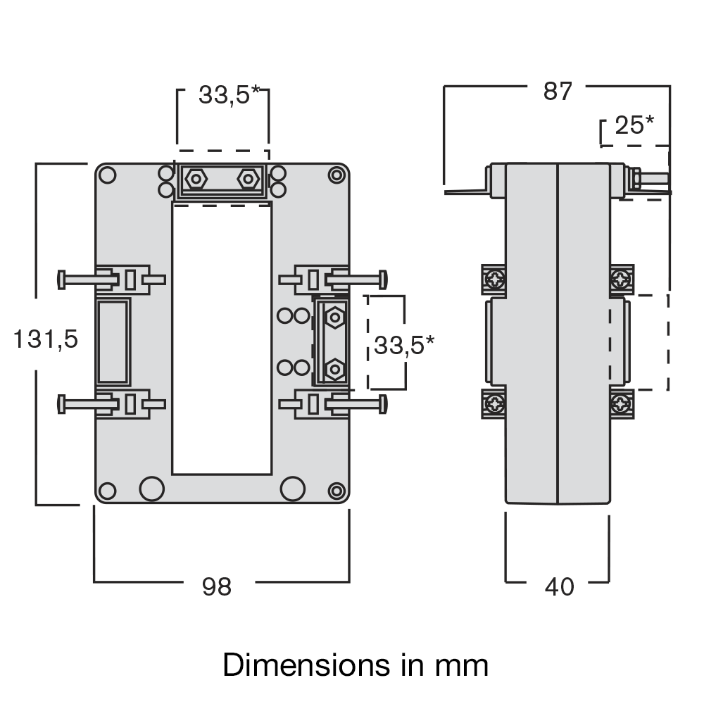 IME TASP TAS105 Single Phase Measuring Current Transformer Dimensions Diagram