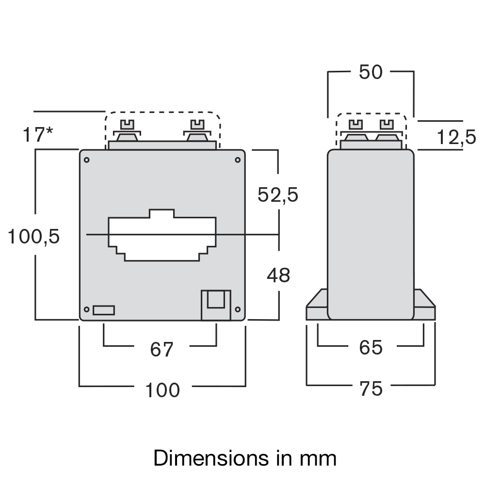 Current transformer TAWA dimensions
