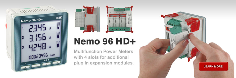Nemo 96 HD+ Multifunction power meters with 4 slots for additional plug in expansion modules.