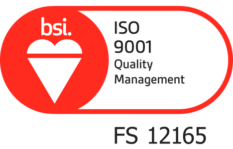 BSi Quality Management Registered Logo Certificate Number FS 12165