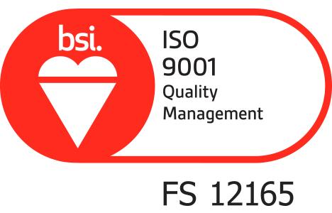 BSi Quality Management Registered Logo Certificate Number FS 12165