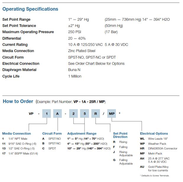 "Nason VP Vacuum Switch – 25 to 762mm Hg (1"" – 30"" Hg"