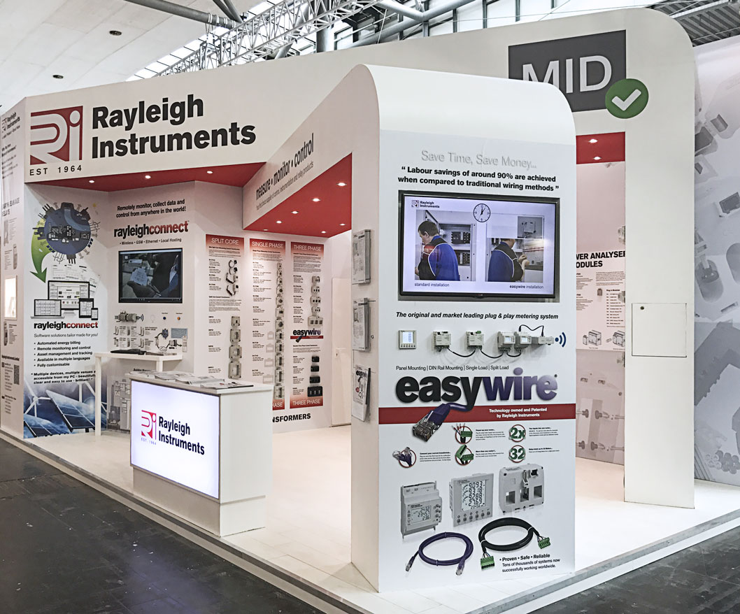 Rayleigh Instruments Hannover Messe Exhibition Stand showcasing new MID Meters and Current Transformers