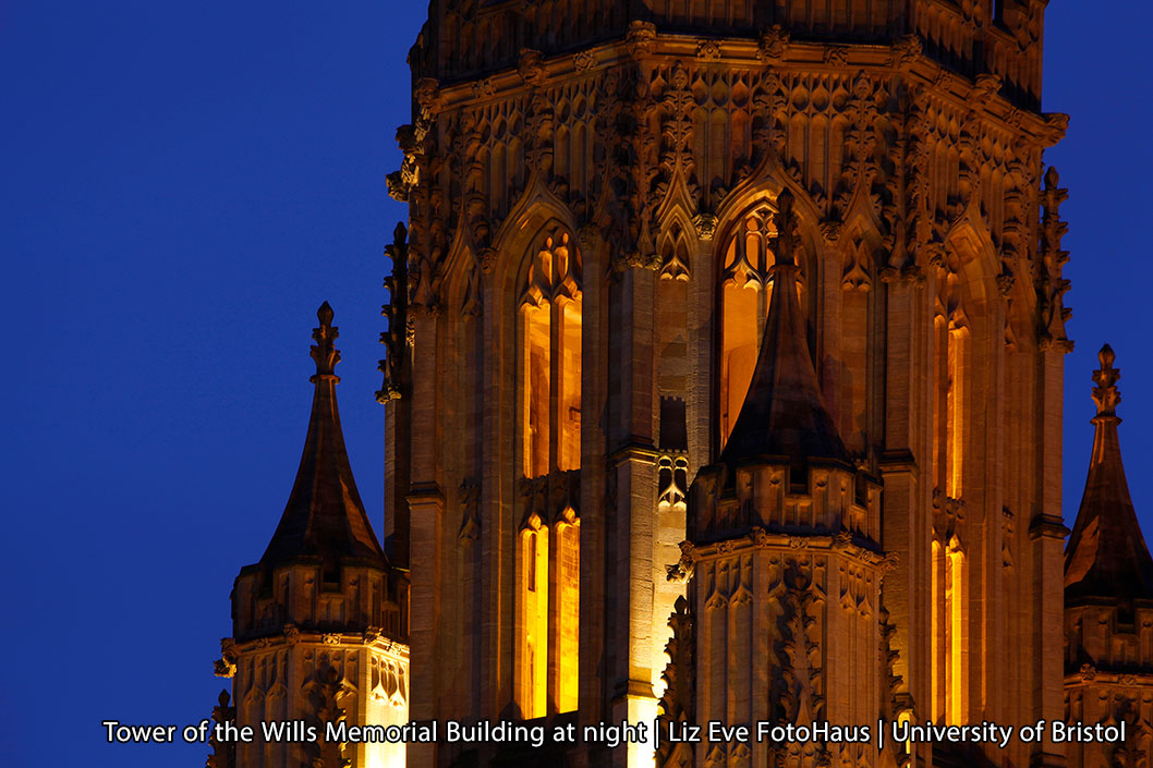 Wills Memorial Building Tower at night - Liz Eve Fotohaus - University of Bristol